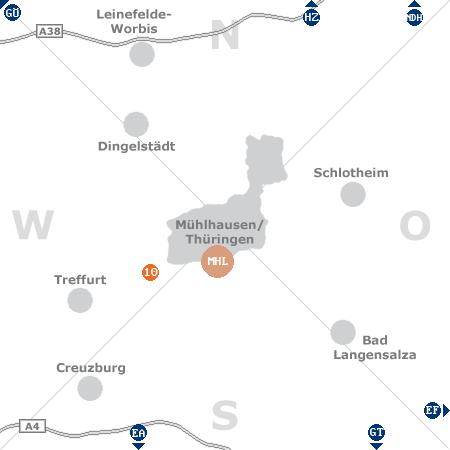 Karte mit Pensionen und anderen Unterk�nften rund um M�hlhausen / Th�ringen