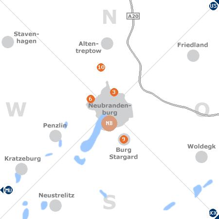 Karte mit Pensionen und anderen Unterkünften rund um Neubrandenburg