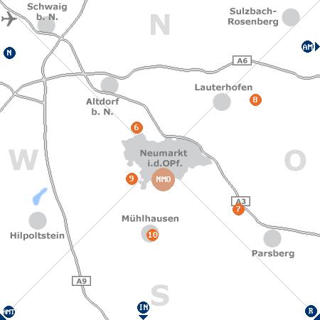 Karte mit Pensionen und anderen Unterkünften rund um Neumarkt in der Oberpfalz