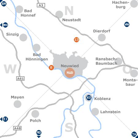 Karte mit Pensionen und anderen Unterkünften rund um Neuwied