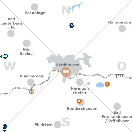Karte mit Pensionen und anderen Unterkünften rund um Nordhausen