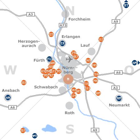 Karte mit Pensionen und anderen Unterkünften rund um Nürnberg