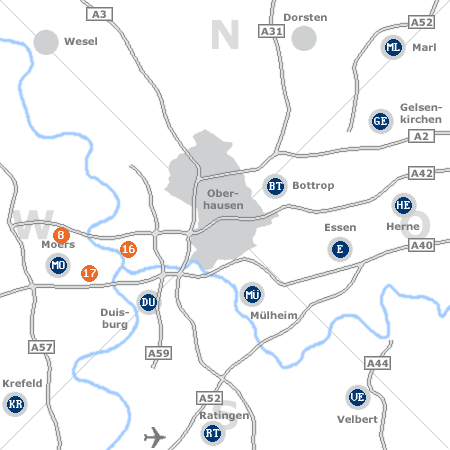 Karte mit Pensionen und anderen Unterkünften rund um Oberhausen