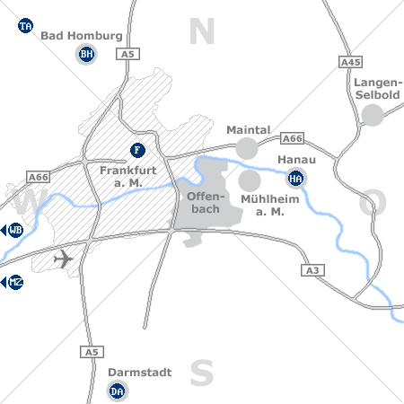 Karte mit Pensionen und anderen Unterkünften rund um Offenbach am Main