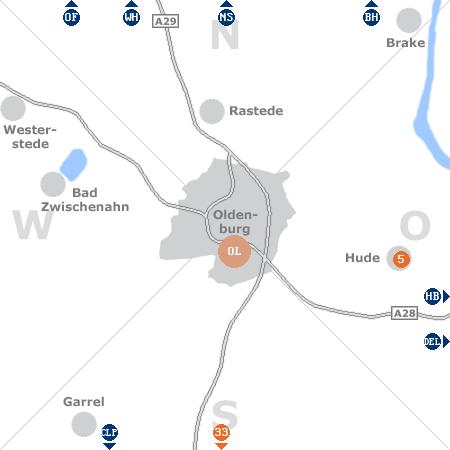 Karte mit Pensionen und anderen Unterkünften rund um Oldenburg