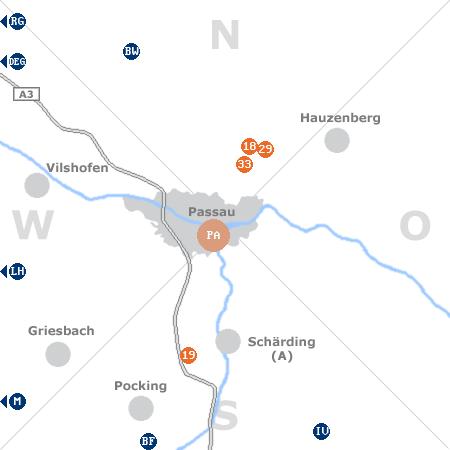 Karte mit Pensionen und anderen Unterk�nften rund um Passau