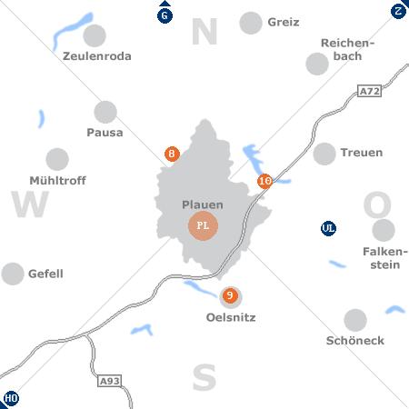 Karte mit Pensionen und anderen Unterkünften rund um Plauen