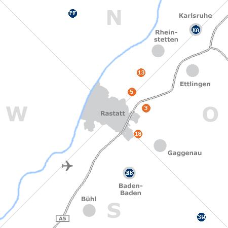 Karte mit Pensionen und anderen Unterkünften rund um Rastatt