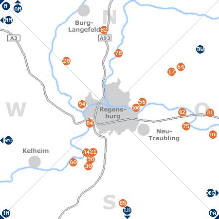Karte mit Pensionen und anderen Unterkünften rund um Regensburg