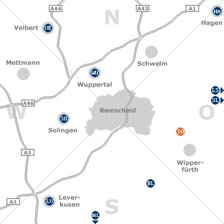 Karte mit Pensionen und anderen Unterk�nften rund um Remscheid