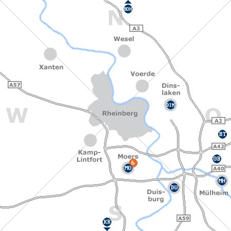 Karte mit Pensionen und anderen Unterk�nften rund um Rheinberg