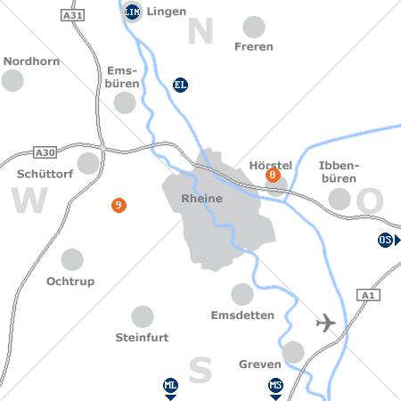 Karte mit Pensionen und anderen Unterk�nften rund um Rheine (Ems)