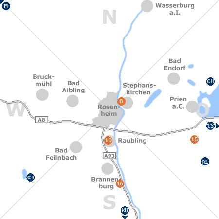 Karte mit Pensionen und anderen Unterk�nften rund um Rosenheim
