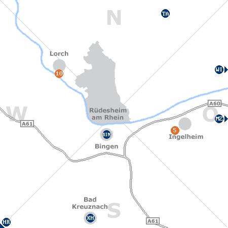 Karte mit Pensionen und anderen Unterk�nften rund um R�desheim am Rhein