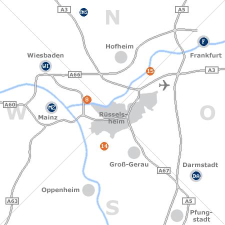 Karte mit Pensionen und anderen Unterkünften rund um Rüsselsheim