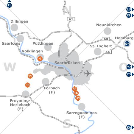 Karte mit Pensionen und anderen Unterkünften rund um Saarbrücken