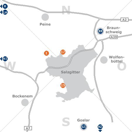 Karte mit Pensionen und anderen Unterk�nften rund um Salzgitter