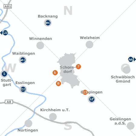 Karte mit Pensionen und anderen Unterk�nften rund um Schorndorf