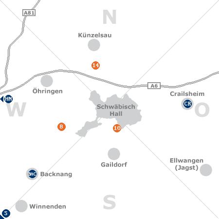 Karte mit Pensionen und anderen Unterkünften rund um Schwäbisch Hall