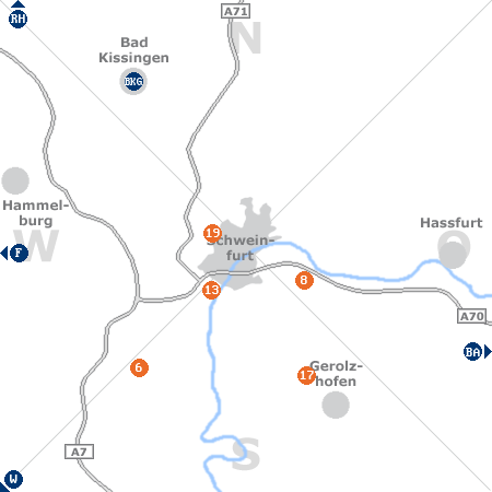 Karte mit Pensionen und anderen Unterk�nften rund um Schweinfurt