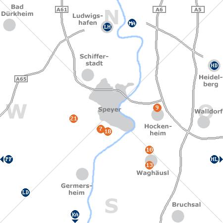 Karte mit Pensionen und anderen Unterkünften rund um Speyer