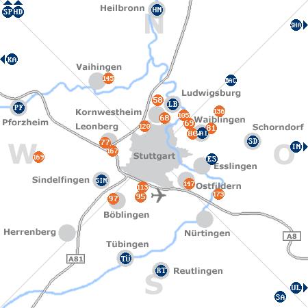 Karte mit Pensionen und anderen Unterkünften rund um Stuttgart