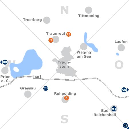 Karte mit Pensionen und anderen Unterkünften rund um Traunstein