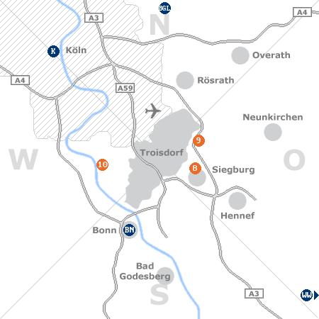 Karte mit Pensionen und anderen Unterk�nften rund um Troisdorf