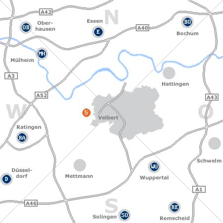 Karte mit Pensionen und anderen Unterkünften rund um Velbert