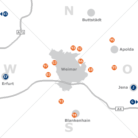 Karte mit Pensionen und anderen Unterkünften rund um Weimar