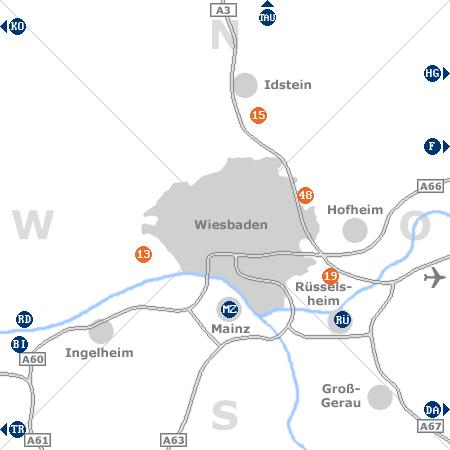 Karte mit Pensionen und anderen Unterkünften rund um Wiesbaden