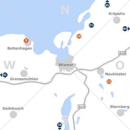 Karte mit Pensionen und anderen Unterkünften rund um Wismar