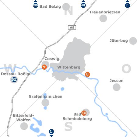 Karte mit Pensionen und anderen Unterkünften rund um Wittenberg