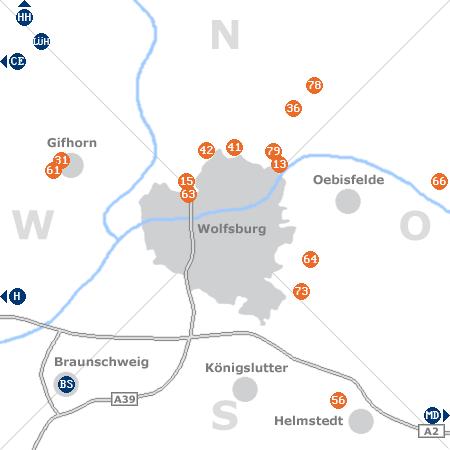 Karte mit Pensionen und anderen Unterkünften rund um Wolfsburg