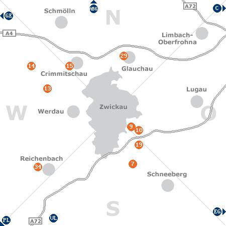 Karte mit Pensionen und anderen Unterkünften rund um Zwickau