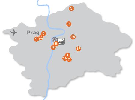 Karte mit Pensionen und anderen Unterkünften in Prag