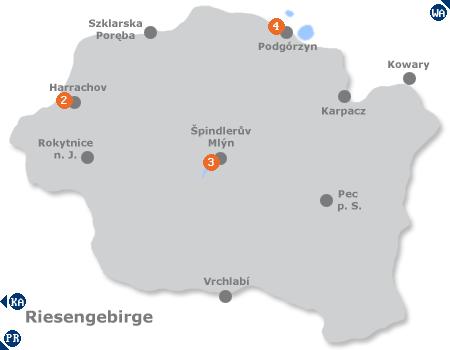 Karte mit Pensionen und anderen Unterk�nften im Riesengebirge