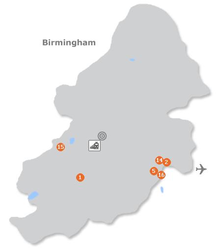 Karte mit Pensionen und anderen Unterkünften in Birmingham