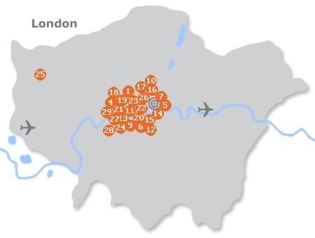 Karte mit Pensionen und anderen Unterkünften in London