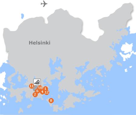 Karte mit Pensionen und anderen Unterkünften in Helsinki