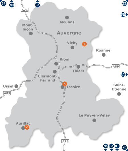 Karte mit Pensionen und anderen Unterkünften in der Auvergne