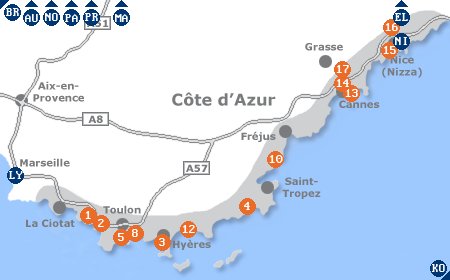 Karte mit Pensionen und anderen Unterkünften an der Côte d'Azur