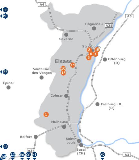Karte mit Pensionen und anderen Unterkünften im Elsass