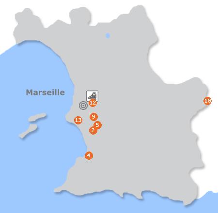 Karte mit Pensionen und anderen Unterkünften in Marseille