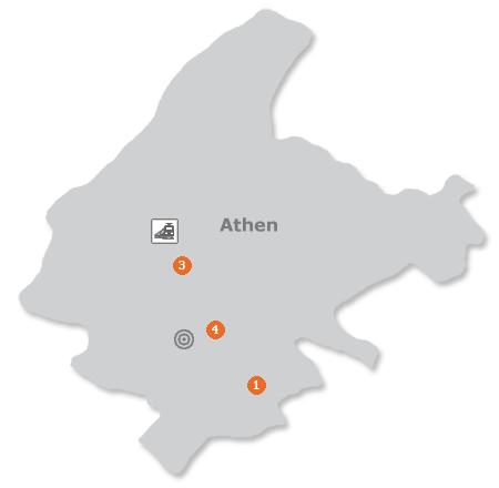 Karte mit Pensionen und anderen Unterkünften in Athen