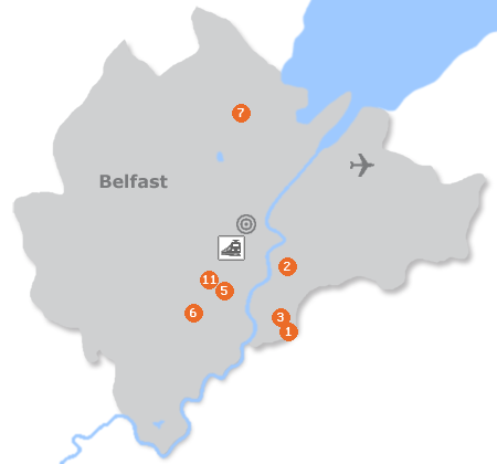 Karte mit Pensionen und anderen Unterkünften in Belfast