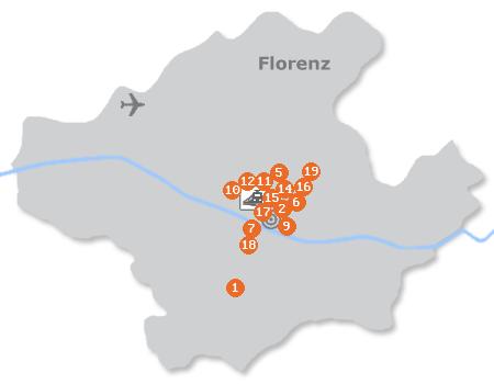 Karte mit Pensionen und anderen Unterkünften in Florenz