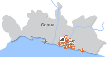 Karte mit Pensionen und anderen Unterk�nften in Genua