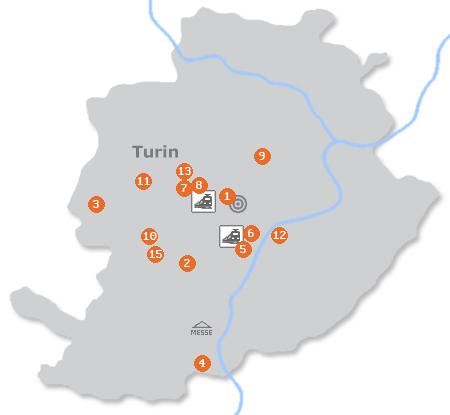 Karte mit Pensionen und anderen Unterkünften in Turin