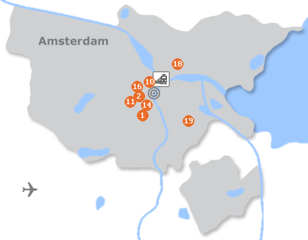 Karte mit Pensionen und anderen Unterkünften in Amsterdam
